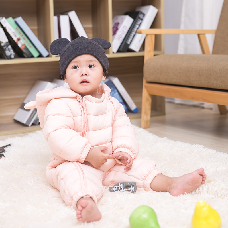 Unisex Boys Girls Coats Snow Wear Infant Toddler Baby Rompers Jumpsuits Hooded Casual Kids Down Coats pink