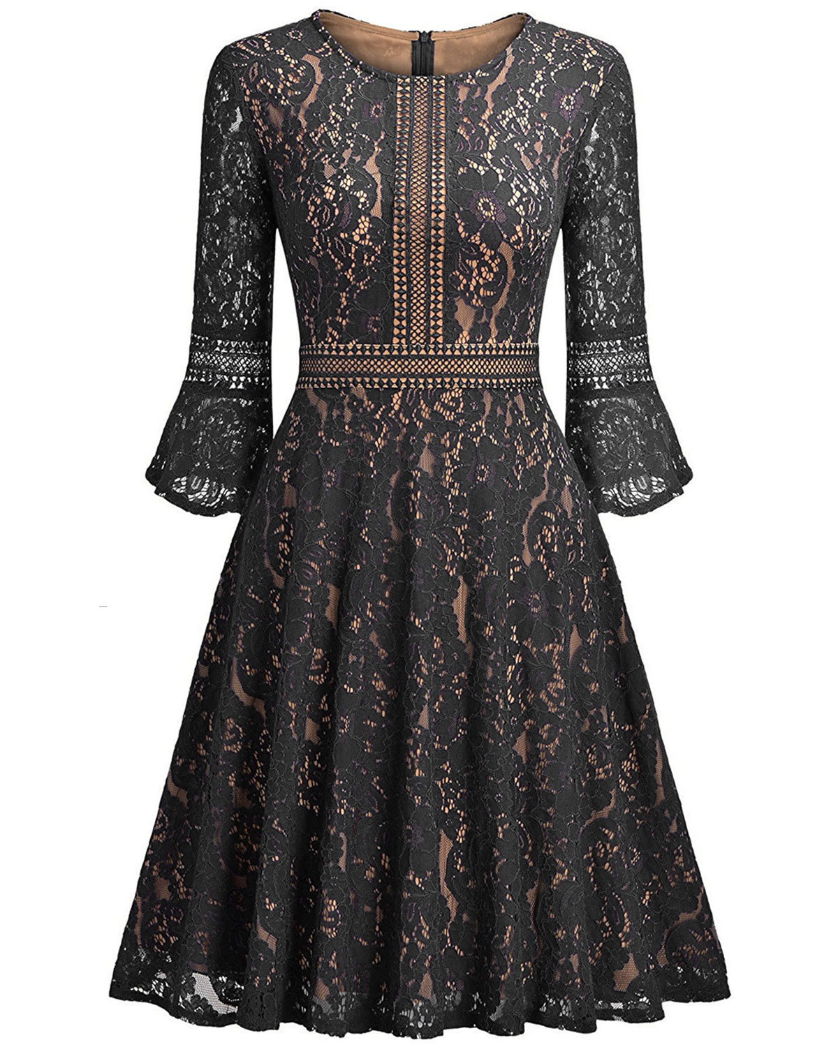 05f07a65b67 Vintage Floral Lace Dress Casual Women 3 4 Flare Sleeve Short Cocktail  Evening Party Wear