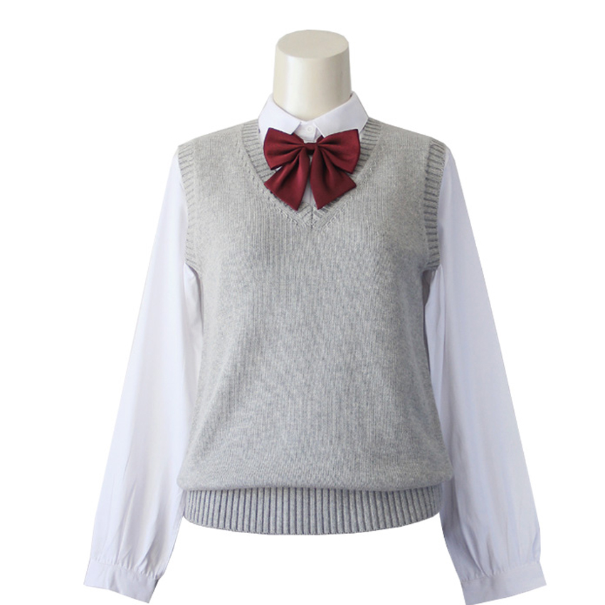Japanese School Student JK Uniform Vest Girls Sleeveless V-Neck Sailor Knited Sweater Anime Love Live K-on Cosplay gray