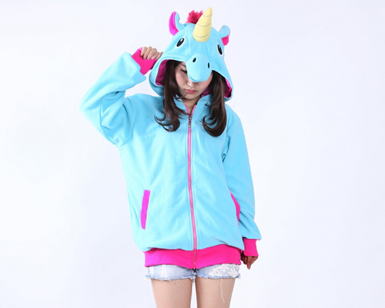 High Quality Autumn Spring Women Blue Pink Purple Unicorn Zip Up Hoodies Top Animal Kiguruma Cosplay Coat Jacket Sweatshirts blue