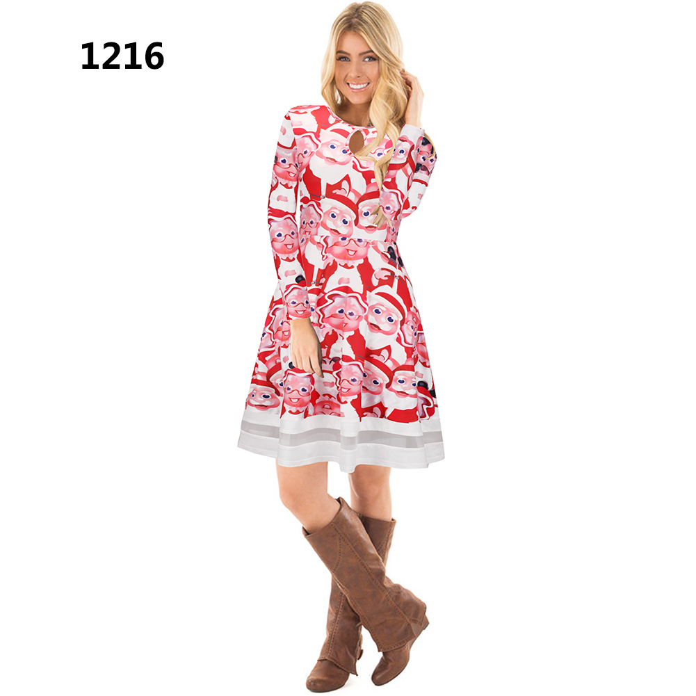 women christmas floral print dress long sleeve o neck mesh patchwork hollow out a line party dress 1216