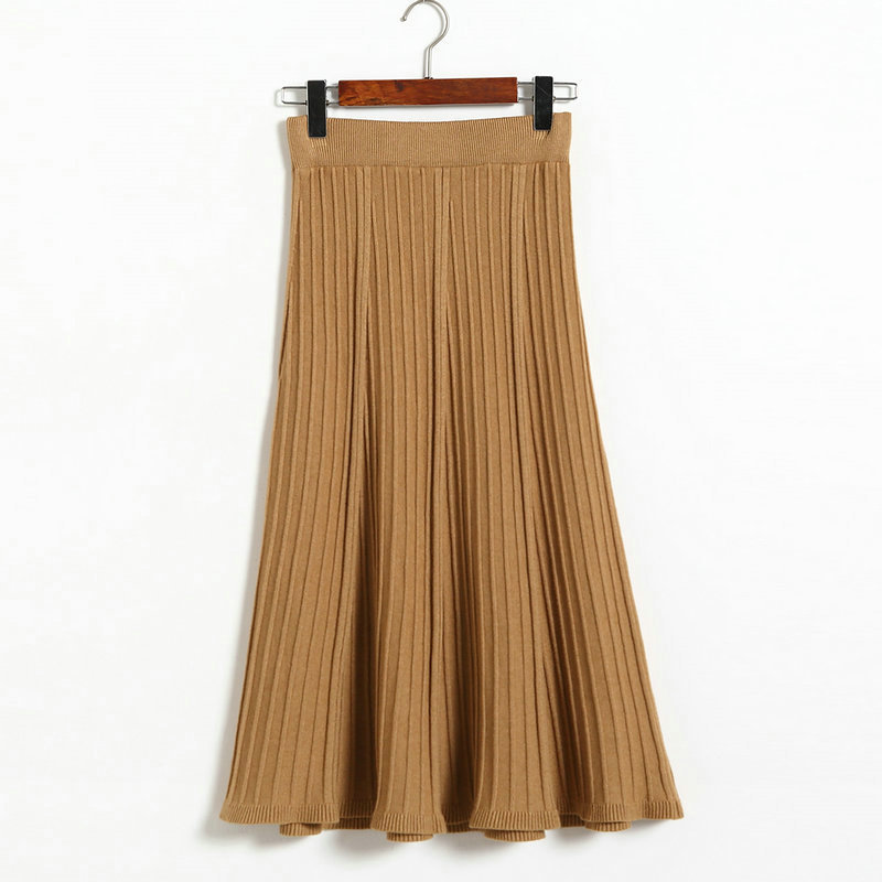 Vintage Fashion Pleated Skirt Women Knitted Autumn Winter High Waist A Line Long Midi Skirts camel