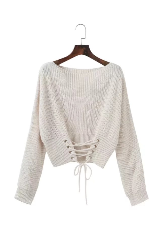 Fashion Autumn Winter Casual Knitted Sweater Solid Long Sleeve Lace up  Women Tops Girls Short Pullovers off white 99dba50ad