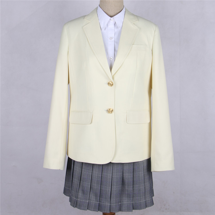 Japanese JK Women Girl School Uniform Suit Coat Students Jacket Blazer Outerwear cream