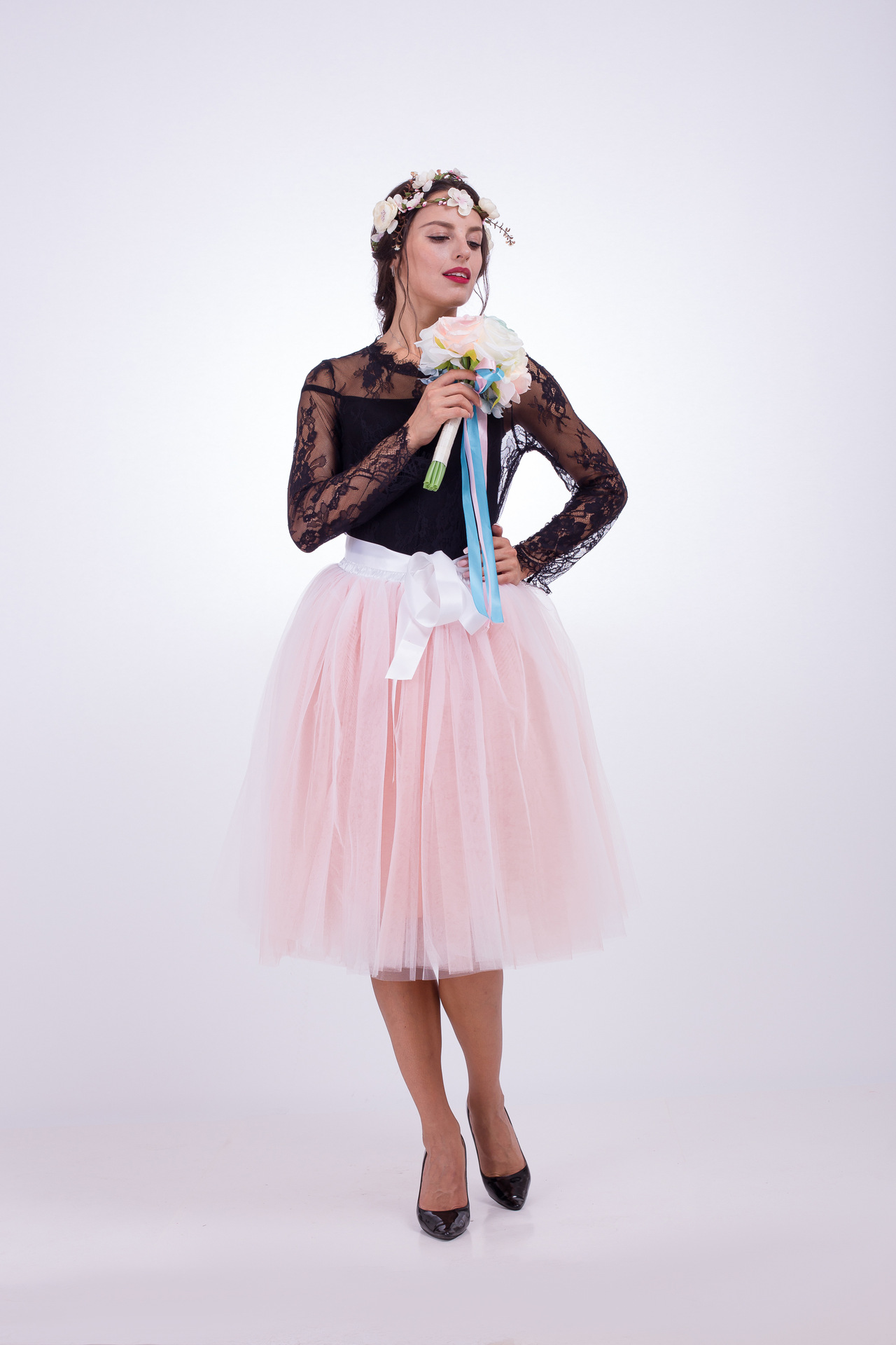 6 Layers Multi Color Tulle Midi Skirt Women Fashion Adult Tutu Skirts Mesh Bridesmaid Wedding Party Skirt off white+pink