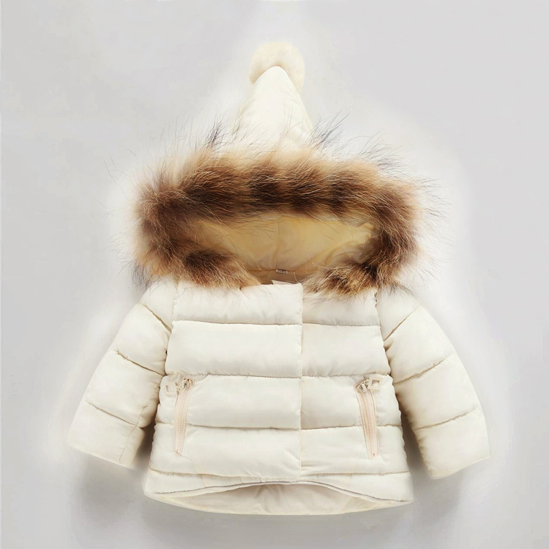 Baby Winter Solid Coat Warm Kids Outwear Hooded Fashion Children Down Jackets Little Girls Down Coat off white