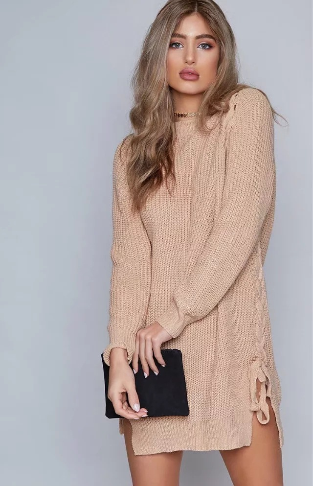 Elegant Lace up Sweater Women Casual Long Sleeve Knitted Split Autumn Winter Femme Pullover khaki