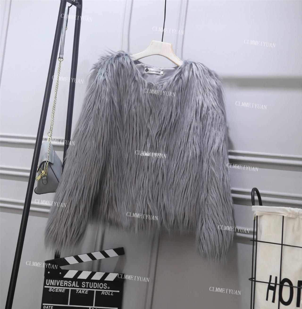 Plus Size 4XL Women Fluffy Faux Fur Coats Long Sleeve Winter Warm Jackets Female Outerwear gray