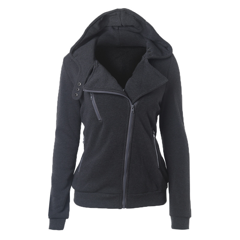 Fashion Spring Autumn Zipper Hooded Jacket Women Warm Hoodies Sweatshirts Cardigan Basic Coats Outerwear dark gray