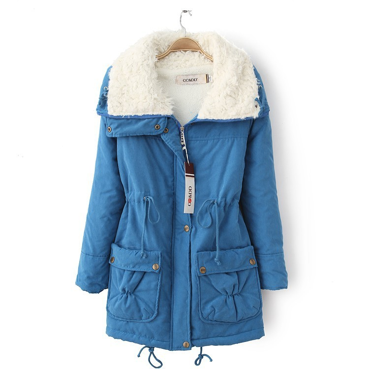 Winter Women Thick Long Fleece Coat Warm Turn Down Collar Fashion Parka Jackets Female Outerwear blue