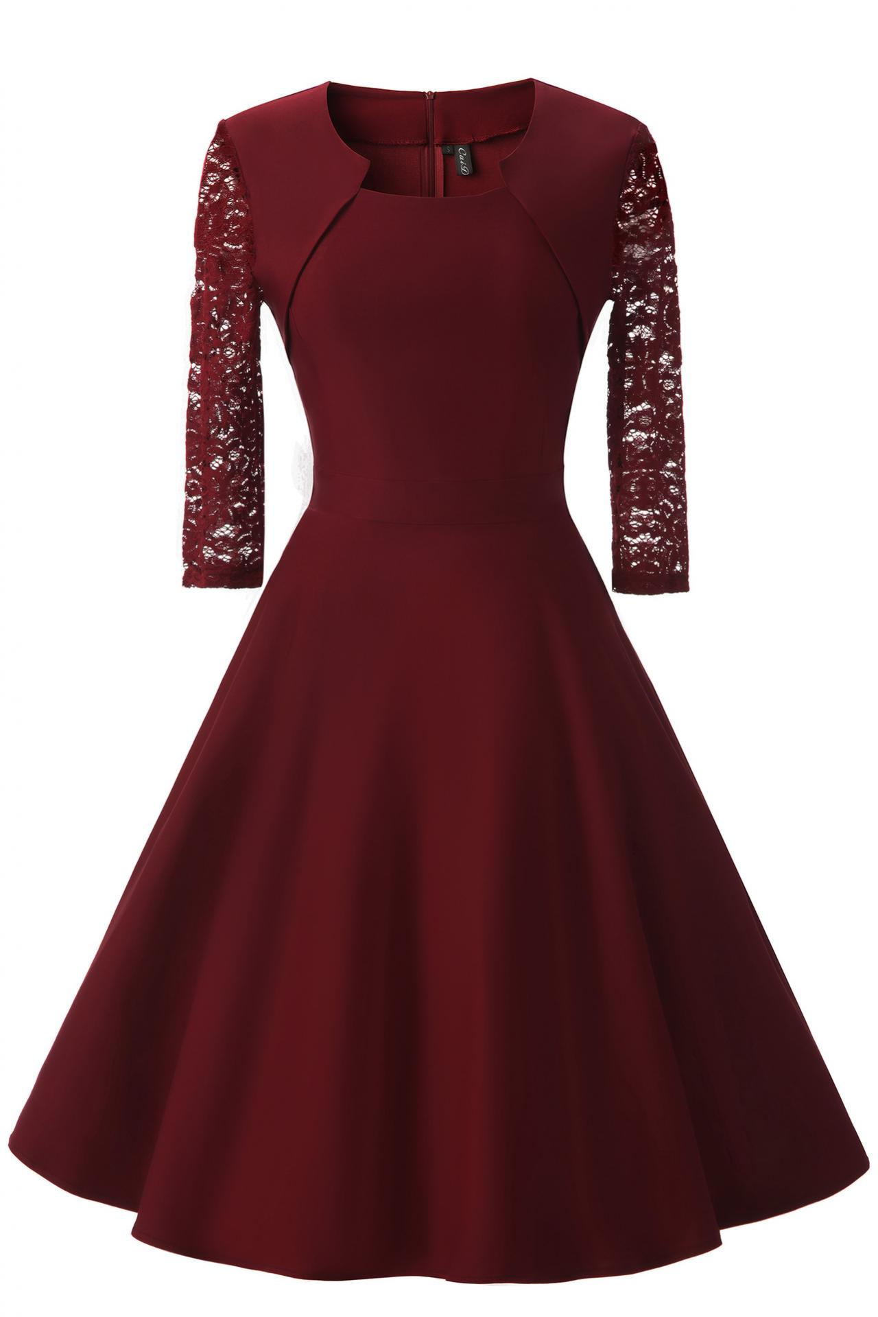 Vintage 50 60s Lace Patchwork Dress Women 3/4 Sleeve Rockabilly Swing Cocktail Prom Party Dress burgundy