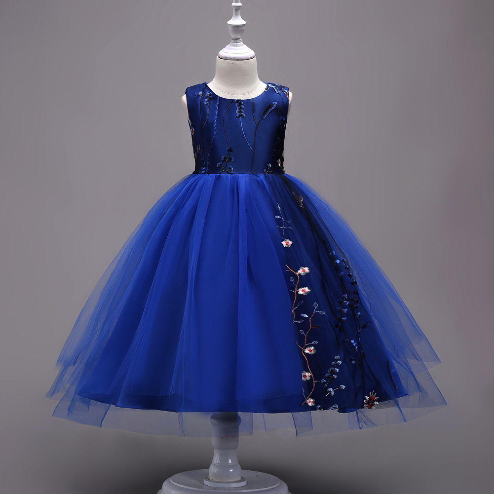 Royal Blue Princess Party Communion Dress Embroidery Evening Gowns