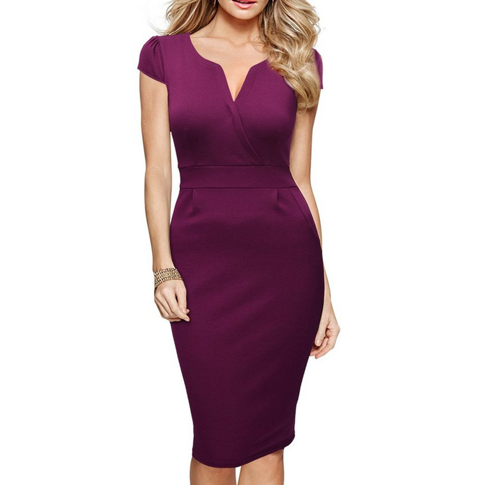 58554f9abc2 Womens V Neck Work Party Dress Cap Sleeve Slim Tunic Business Bodycon  Sheath Pencil Dress plum