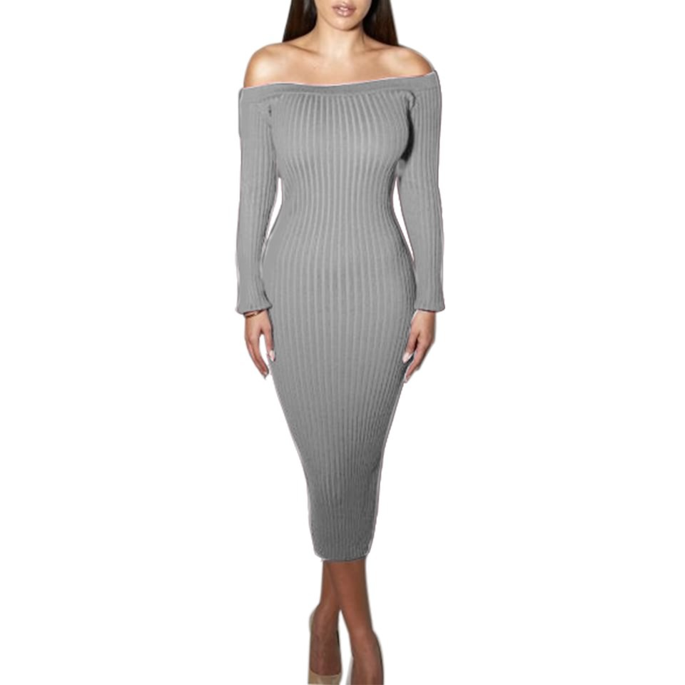 Grey Ribbed Knit Off-The-Shoulder Long Sleeves Midi Sweater Dress