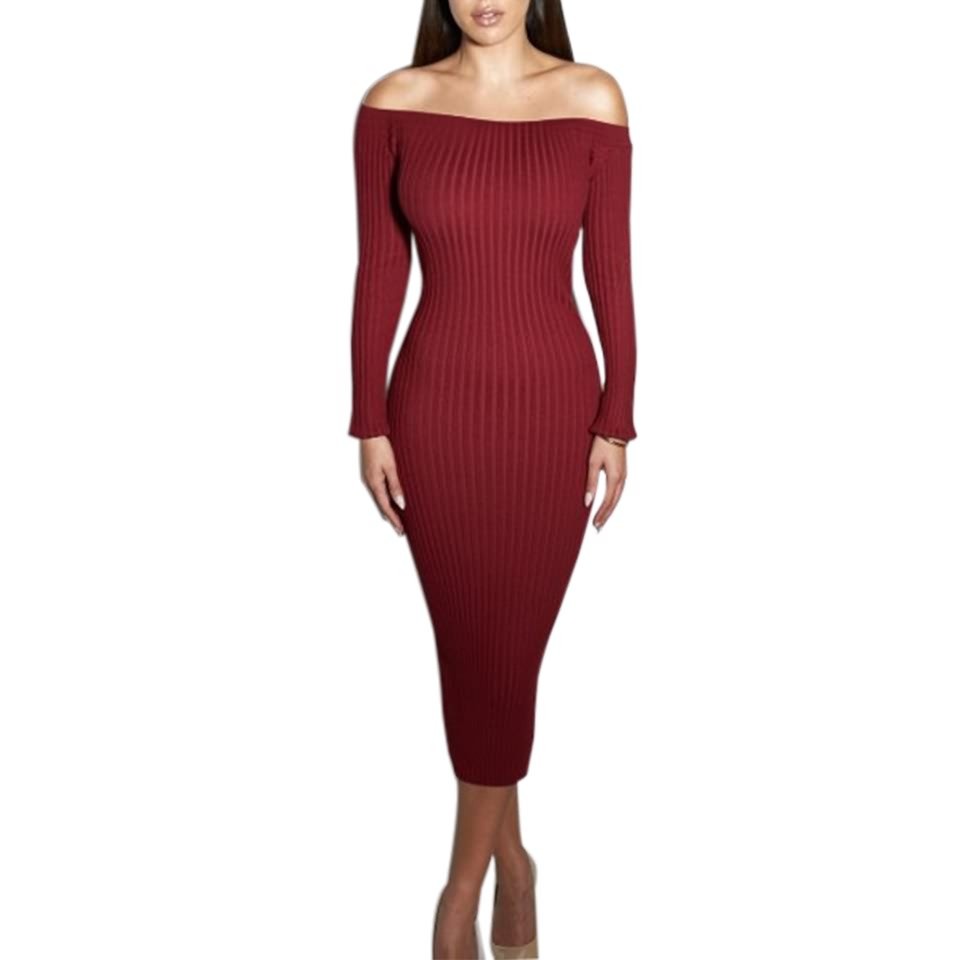 Red Ribbed Knit Off The Shoulder Long Sleeves Midi Sweater Dress On