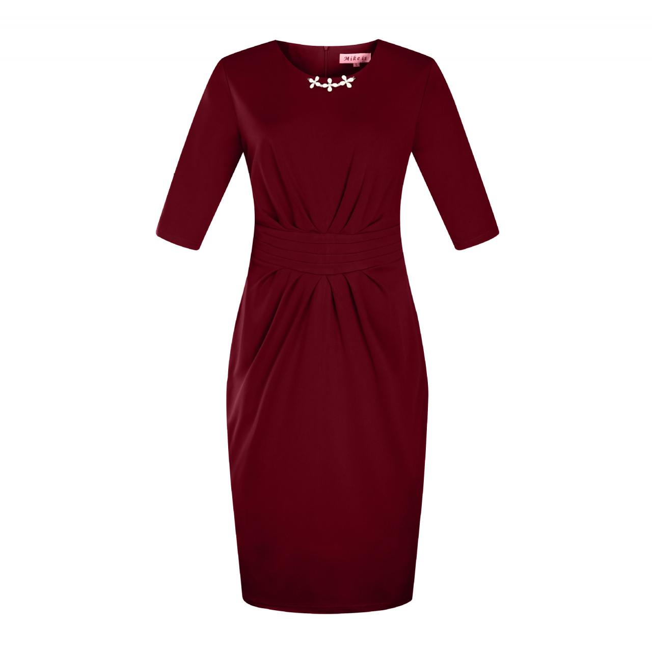 Women Plus Size Work Office Party Dress Half Sleeve Ruched Split Bodycon Pencil Dress burgundy