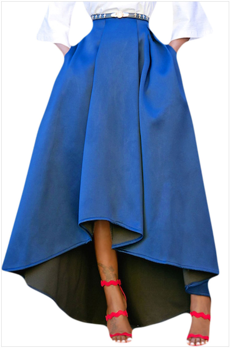 Women Maxi A Line High-Low Skirt Vintage Long Puffy Pockets Prom Party Skirt blue