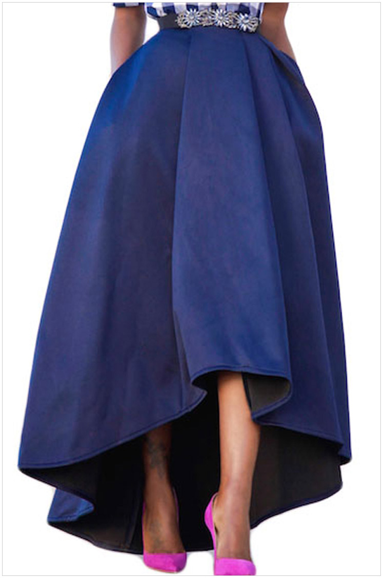 Women Maxi A Line High-Low Skirt Vintage Long Puffy Pockets Prom Party Skirt royal blue