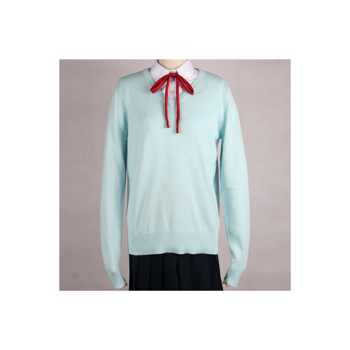 Japanese School Harajuku Style JK Uniforms Sweater Long Sleeve Students Knitted V-Neck Sweater aqua