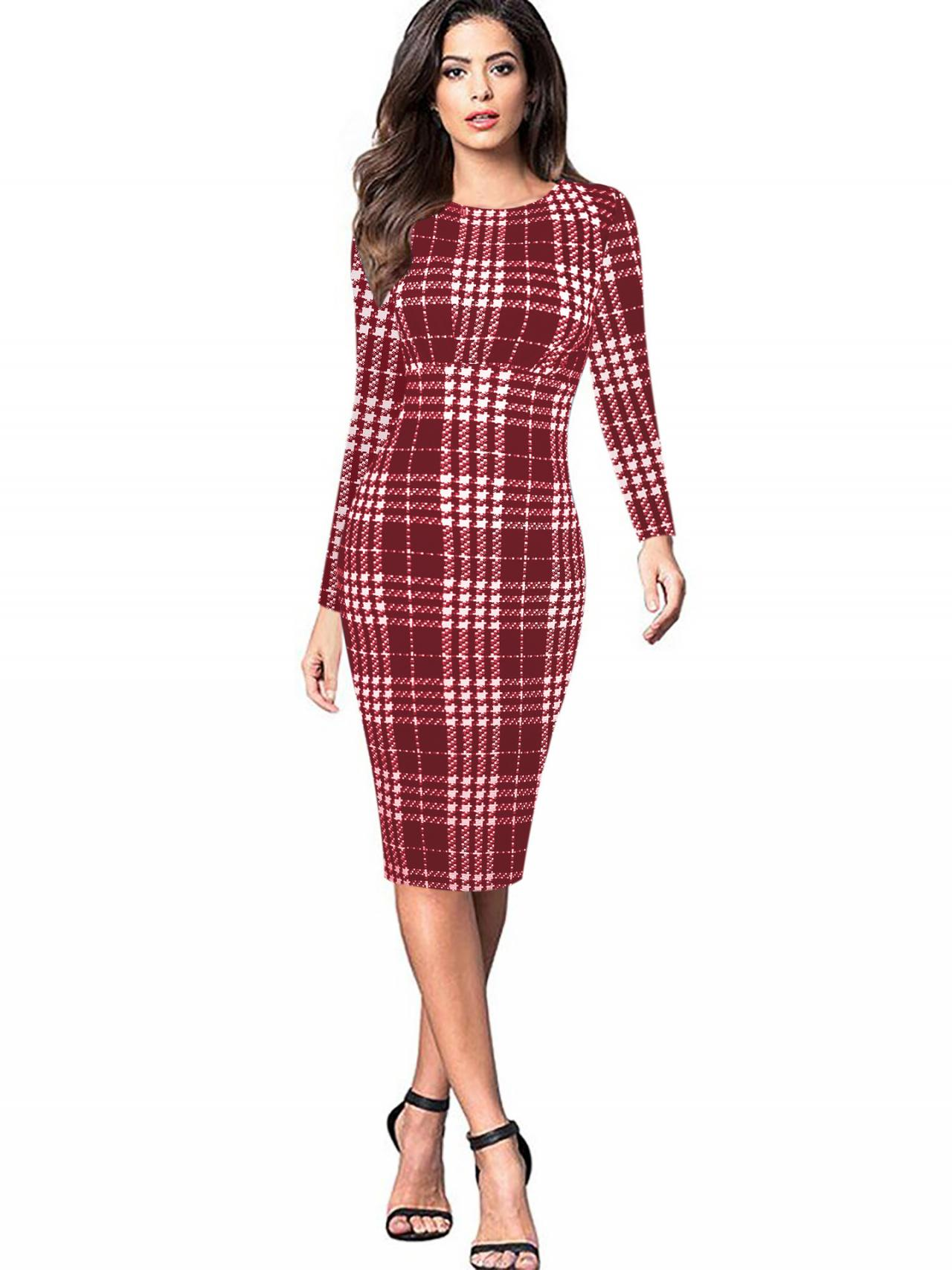 Women Long Sleeve Work Party Dress Graffiti Printed Plaid Knee Length Bodycon Pencil Dress red
