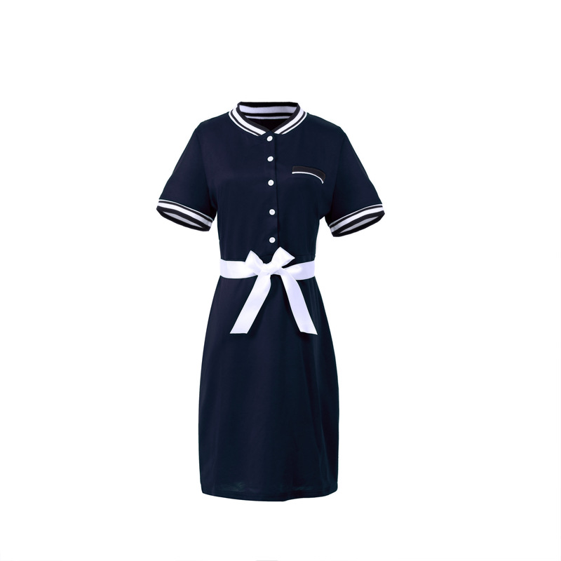 Plus Size Polo Shirt Dress Women Short Sleeve Bodycon Work Office Pencil Party Dress navy blue