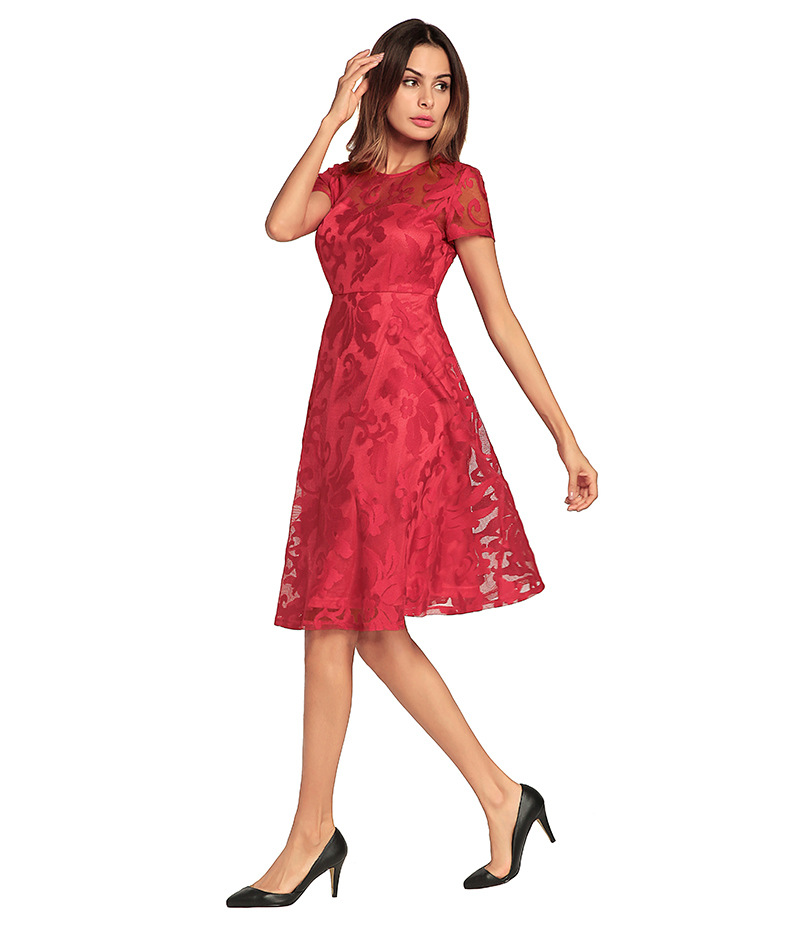Fashion Summer Dress Floral Lace Short Sleeve A Line Cocktail Prom Party Dress red