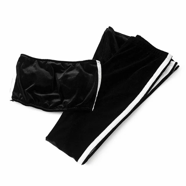 Women Velvet Strapless+Long Flare Pants Suit Striped Trousers Two Pieces Tracksuit black