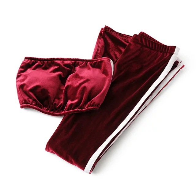 Women Velvet Strapless+Long Flare Pants Suit Striped Trousers Two Pieces Tracksuit burgundy