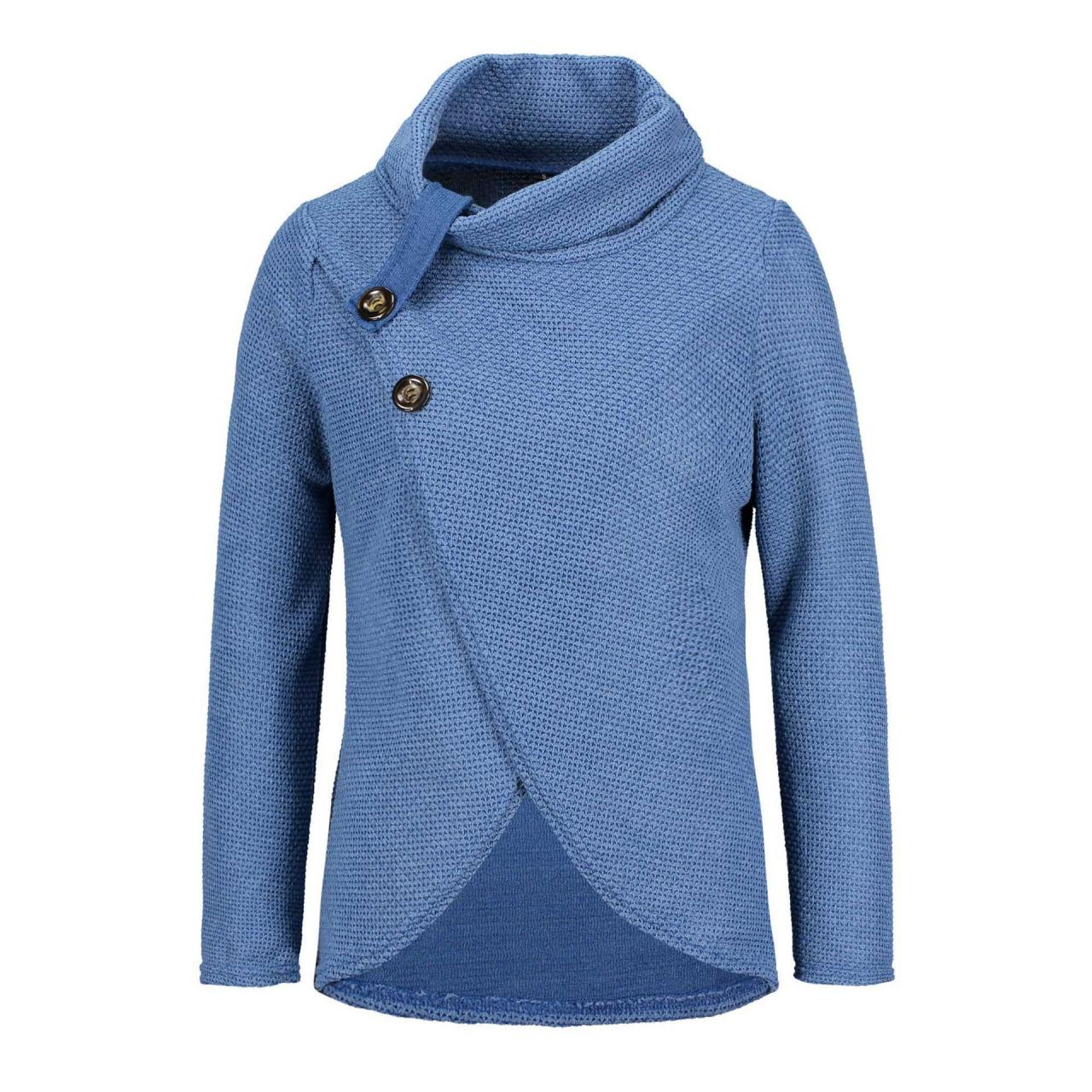 Women High Neck Sweater Buttons Loose Long Sleeve Asymmetrical Jumper Knitted Pullover Shirt blue