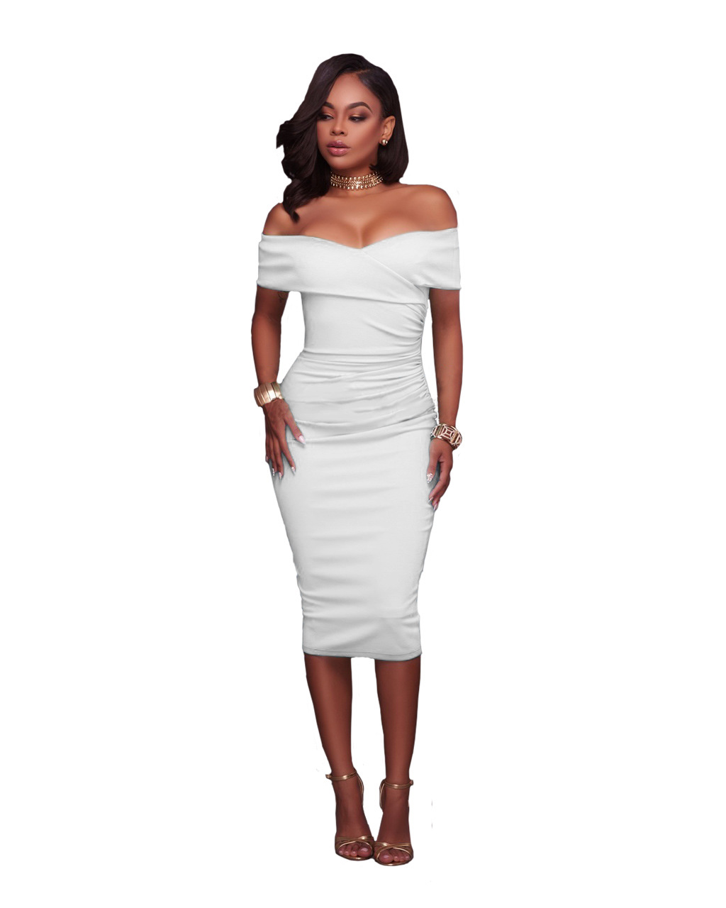 Women Midi Bodycon Dress Ruched Elegant Sexy Off the Shoulder Party  Clubwear Pencil Dress off white 972ab07a7