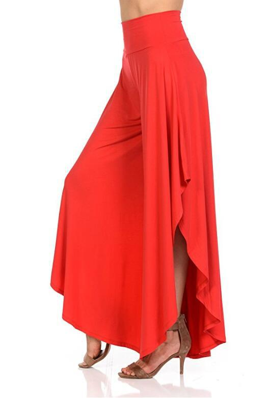 Elegant Irregular Ruffles Wide Leg Pants Women High Waist Pleated Casual Loose Streetwear Trousers red