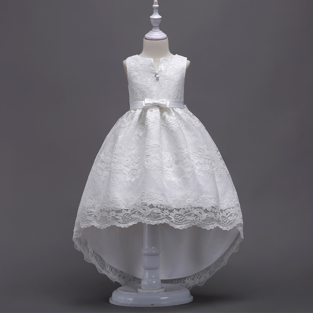 High Low Lace Flower Girl Dress Princess Wedding Birthday Party Teenage Children Clothes off white