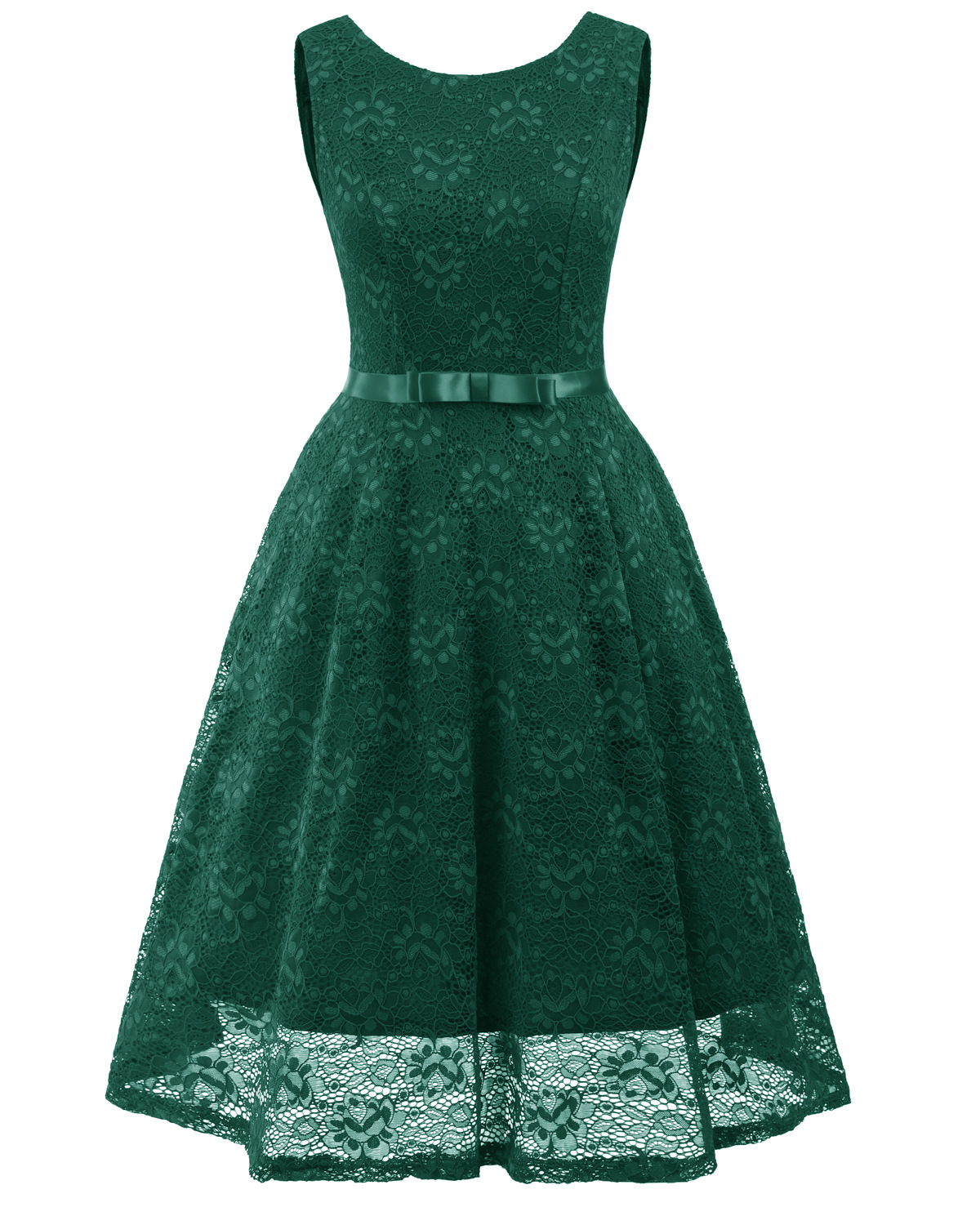 Vintage Floral Lace Dress O Neck Sleeveless Bow Belted Wedding Party Swing Dress green