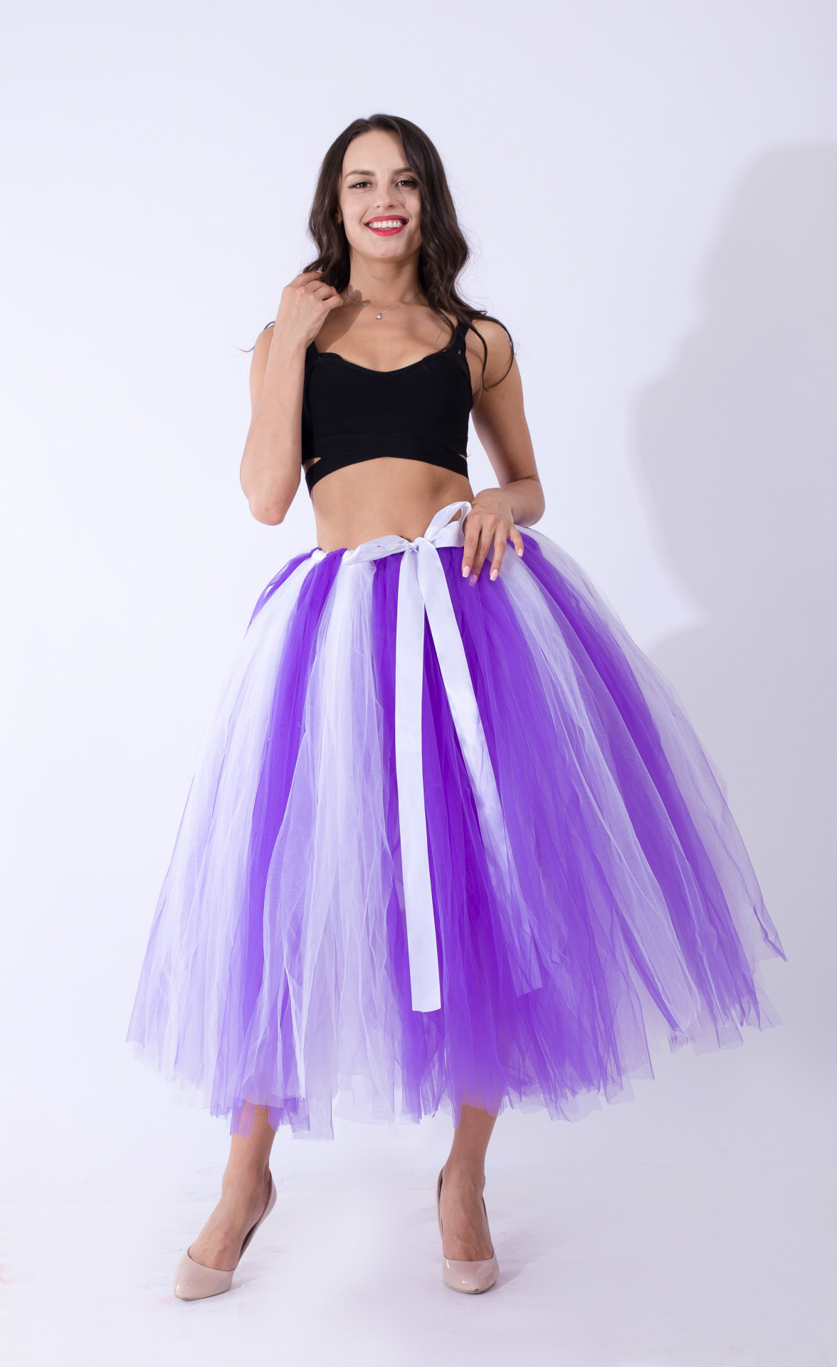 Women Puffy Tutu Skirts Long Tea Length Tulle Skirt Wedding Bridesmaid Lolita Under skirt purple+white