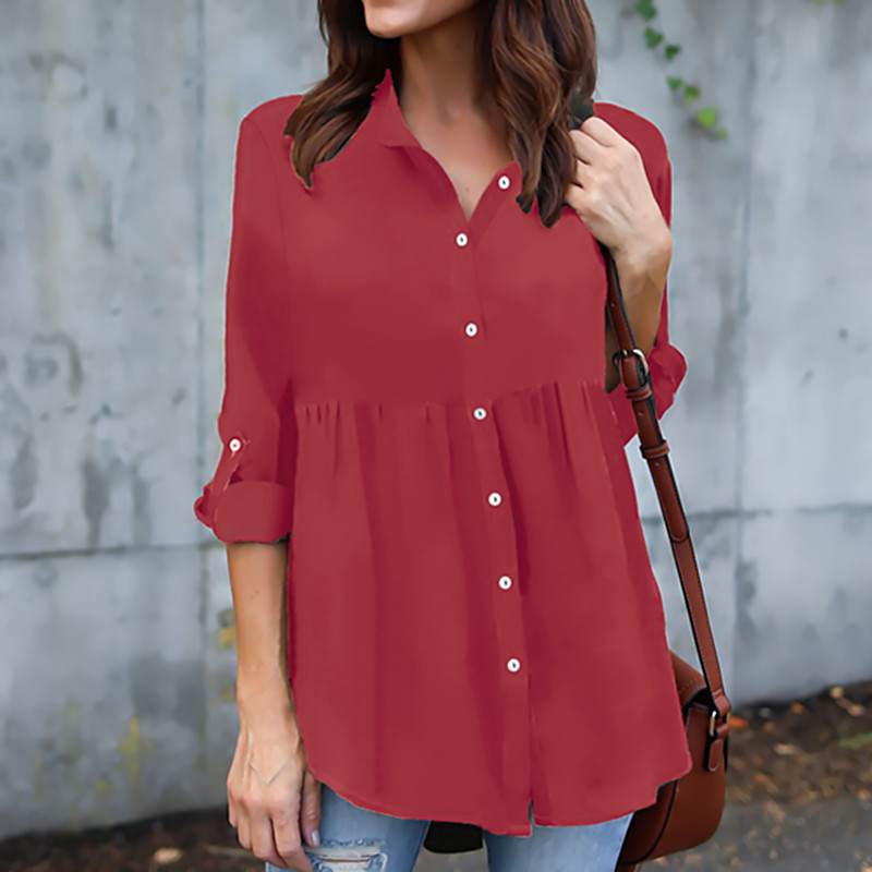 4 COLOURS PLUS SIZES LADIES SEE THROUGH CHIFFON LONG SLEEVE BLOUSE SHIRTS