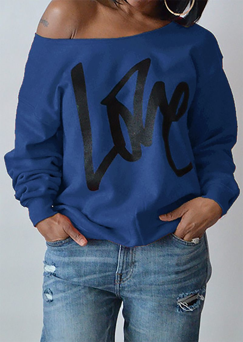 Women Hoodies Sweatshirt Spring Girls LOVE Letter Printed Long Sleeve Sexy Off The Shoulder Pullover blue