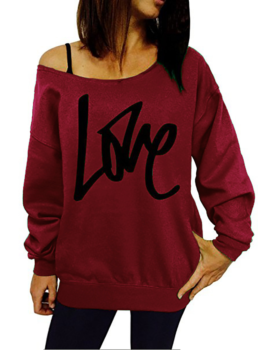 Women Hoodies Sweatshirt Spring Girls LOVE Letter Printed Long Sleeve Sexy Off The Shoulder Pullover burgundy