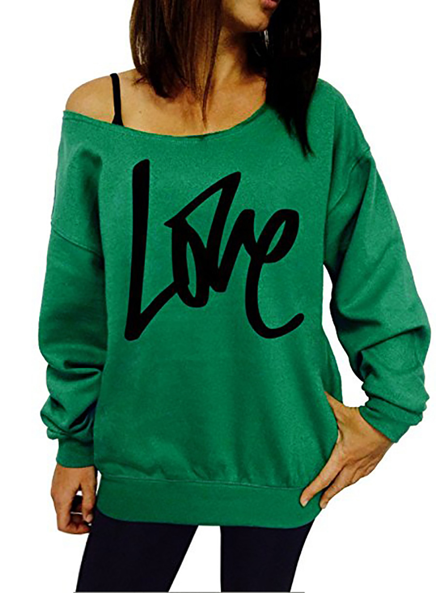 Women Hoodies Sweatshirt Spring Girls LOVE Letter Printed Long Sleeve Sexy Off The Shoulder Pullover green
