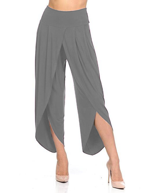 New Irregular Wide Leg Pants Women Fashion Cross Split Ladies Solid Casual Comfortable Loose Trousers gray