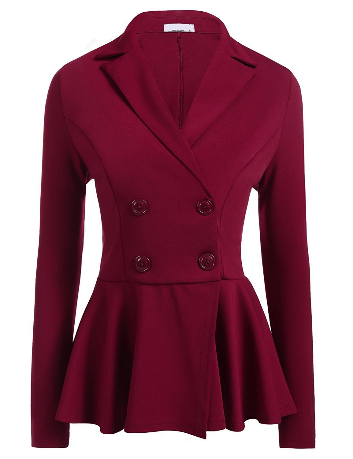 Women Slim Suit Coat Spring Autumn Long Sleeve Double-Breasted Work Wear Casual Jacket burgundy
