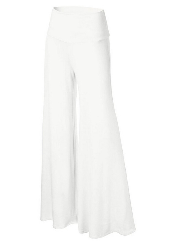 Women Slim Flare Pants High Waist Long Trousers Casual Office Work Wide Leg Trousers off white