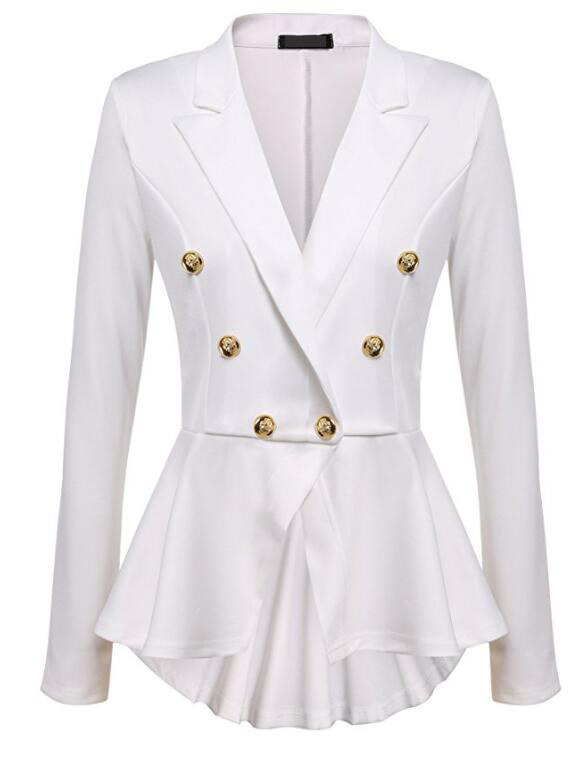 Women Slim Suit Coat Spring Autumn Metal Button Long Sleeve Double-Breasted Lady Blazer Work Wear off white