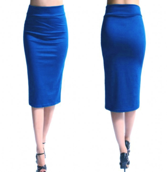 Slim Pencil Skirt High Waist Knee Length Casual Work Office Solid Sheath Bodycon Skirt blue
