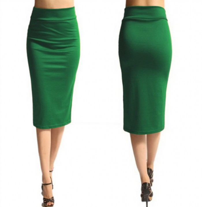 Slim Pencil Skirt High Waist Knee Length Casual Work Office Solid Sheath Bodycon Skirt green