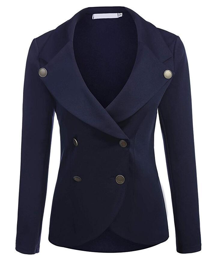 Women Slim Blazer Coat Spring Autumn Casual Long Sleeve Double-Breasted OL Work Suit Jacket navy blue