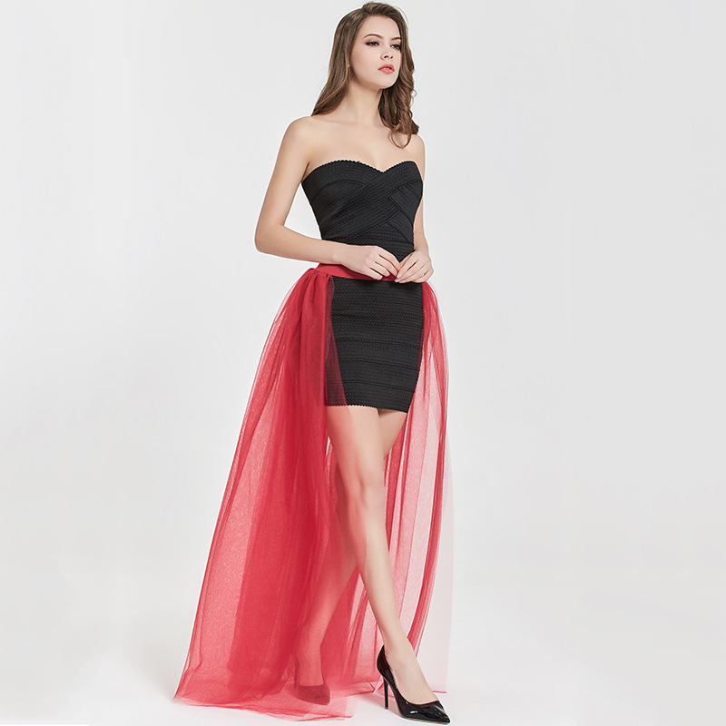 Women Maxi Skirt Floor Length Adult Ruched Tulle High Waist Wedding Party Over Skirt red