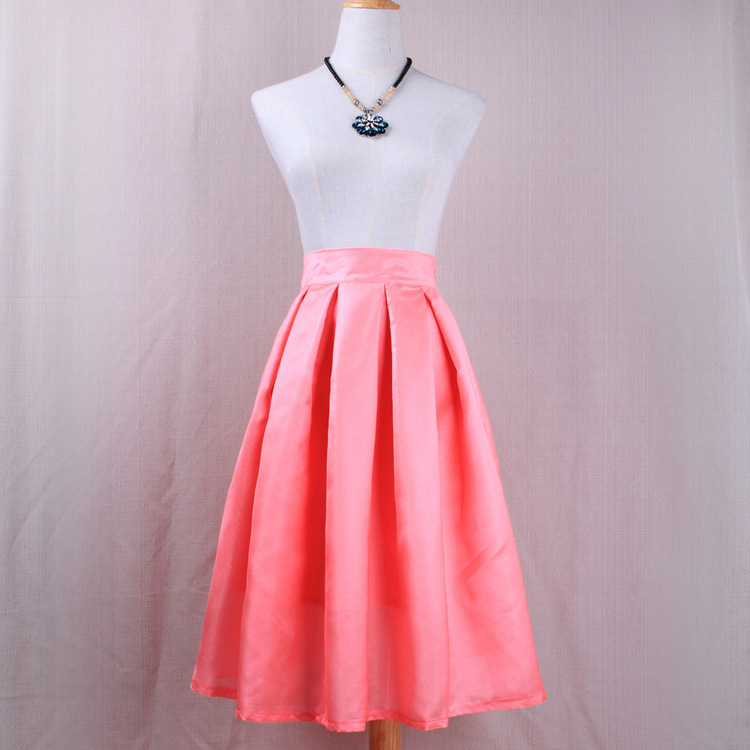 Simple Women A Line Midi Skirt High Waist Pleated Solid Office Work Skater Skirt pink