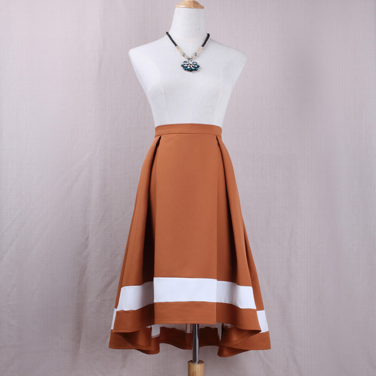 Women High Low Midi Skirt High Waist Pleated Patchwork Office Work A Line Skater Skirt khaki
