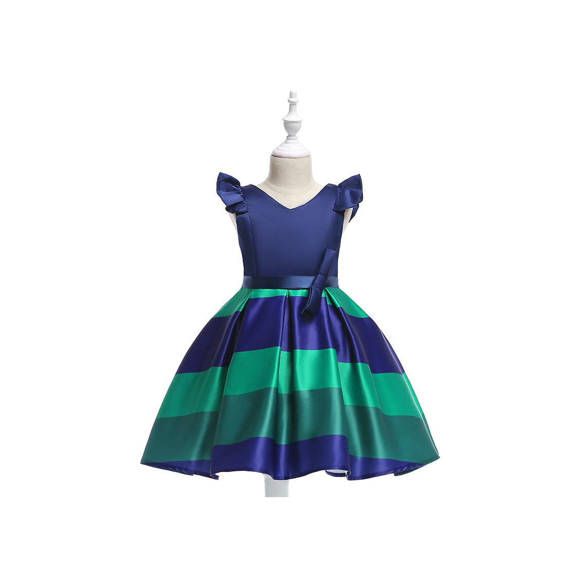 Baby Girls Striped Dress Cap Sleeve Kids Formal Party Birthday Costume Children Clothes royal blue
