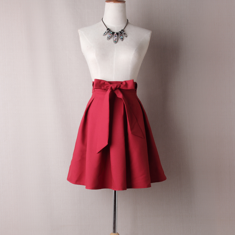 Red High Rise Short Ruffled Skater Skirt with Bow Accent Belt